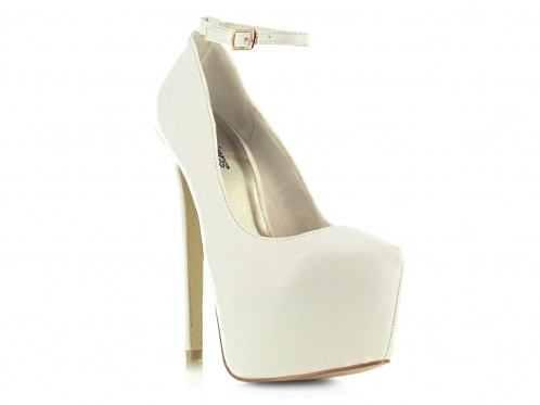 White faux leather concealed platform ankle shoe
