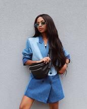 dress,jacket dress,blazer dress,blue dress,bag,sunglasses