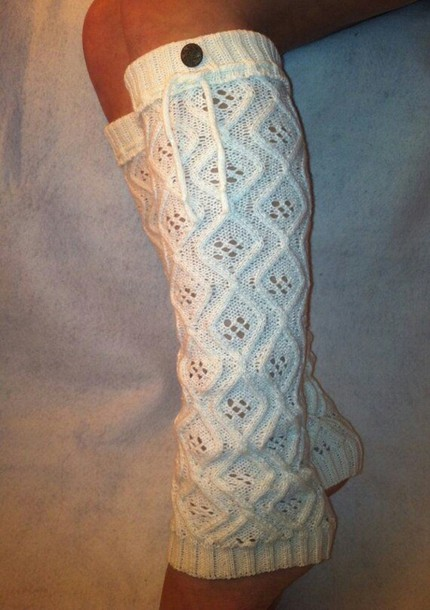 socks knee high leg warmers knit cotton cream buttons warm leg warmers