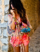 shirt,hippie,neon,tunic,boho,festival,summer,flowy,dress,beach,colorful,sexy,jewels,style,cover up,kaftan dress,tie dye,swimwear,boho dress,summer dress,summer outfits,bell sleeved dress,blouse,colorful patterns,top,see through,boho shirt,jumpsuit