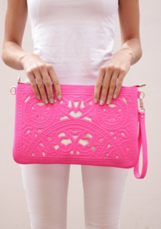 bag clutch pink neon statement chic purse style hot pink accessories pattern styles pink bag texture