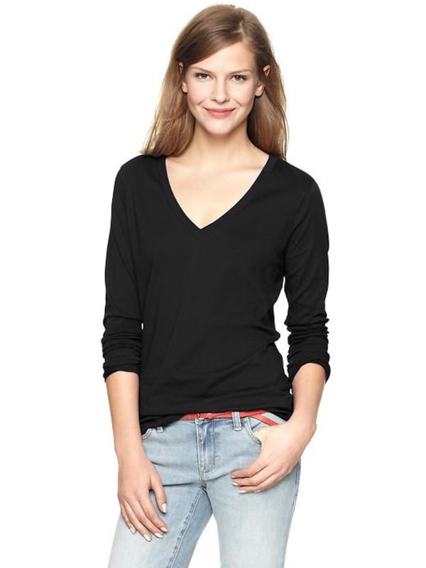 gap essential long sleeve v neck t true black knit womens long sleeved 352244005 top