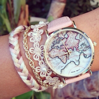 jewels braided flowers map watch leatherette natural nude