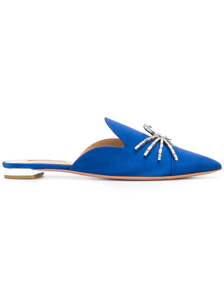 Aquazzura women flats leather blue silk shoes