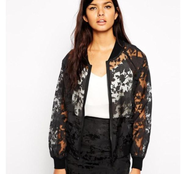 jacket transparent bomber jacket floral sheer
