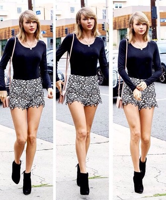 shorts black and white taylor swift