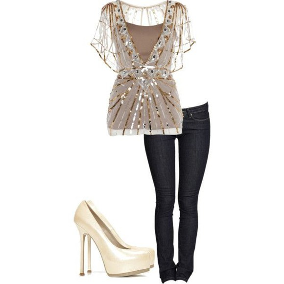 gold sequins glitter blouse jeans glittery gold