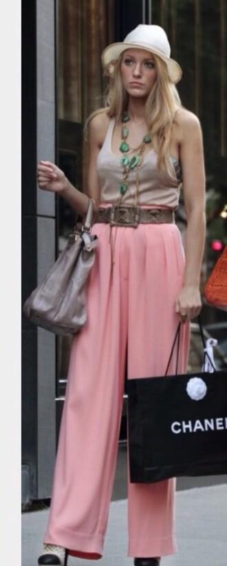 pants serena van der woodsen blake lively gossip girl pink
