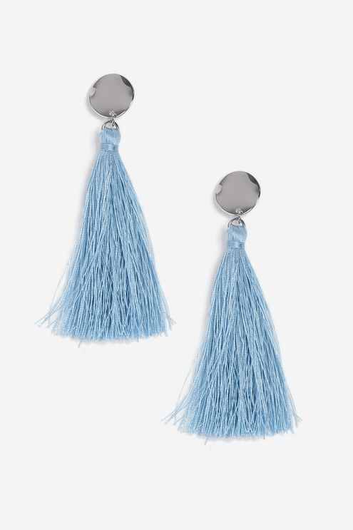 Pastel Blue Stud and Tassel Earrings