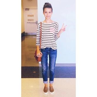 jeans blouse stripes bag zoe horizontal horizontal stripes