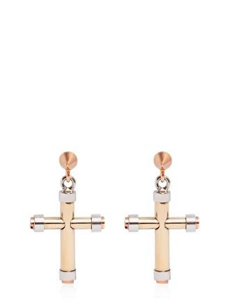 cross earrings gold silver jewels