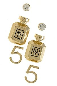 Amazon.com: contempo couture perfume bottle mix stud earrings (clear/gold): jewelry