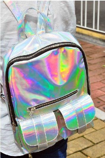 holographic hologram metallic silver clutch bag backpack purse TOTE BAG RARE   eBay