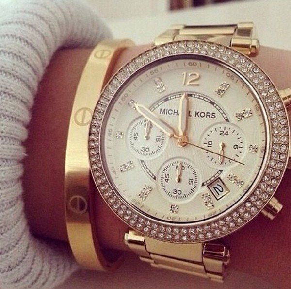 jewels michael kors watch watch gold fashion trendy