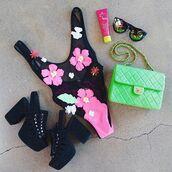 swimwear,nastygal,bikini,summer,spring,spring break,mesh,sheer,pink,white,green,floral,appliques,high cut,open back,one piece swimsuit