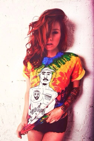 shirt tie dye t-shirt grunge streetstyle streetwear tattoo dope swag blouse hipster rainbow tupac tupac shirt tupac top