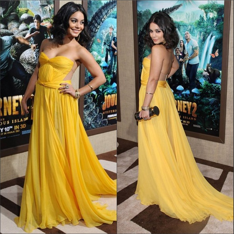 2014 New Arrival Chiffon Sweetheart Yellow Vanessa Hudgens Evening Dress Red Carpet Sex Celebrity Dress-in Celebrity-Inspired Dresses from Apparel & Accessories on Aliexpress.com