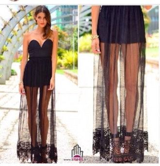 dress crochet black maxi long mesh lace c
