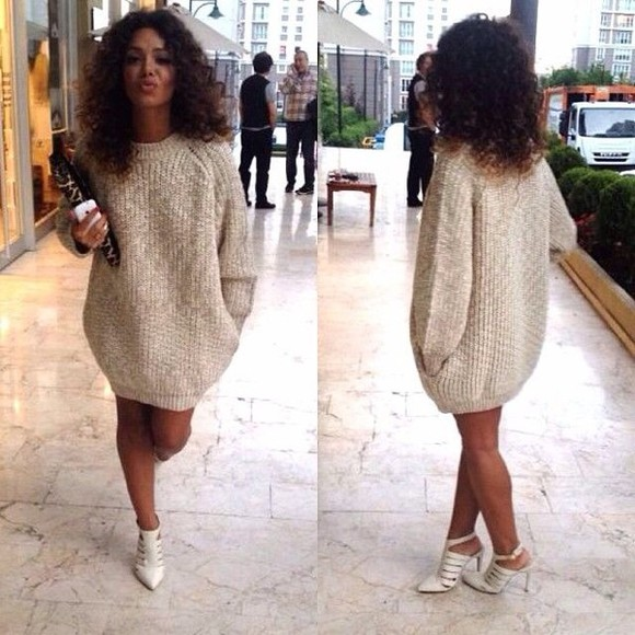 white sweater dress oversize beige dress sweat brown high high heels fashion shoes love it sweater dress