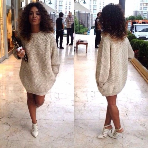Shoes: sweater, baggy, comfy, dress, sweater dress, beige dress ...