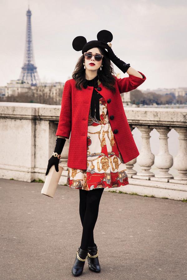macademian girl coat dress shoes hat shirt sunglasses bag jewels