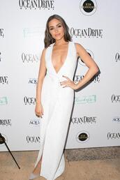 dress,blazer dress,blazer,olivia culpo,white dress,vest