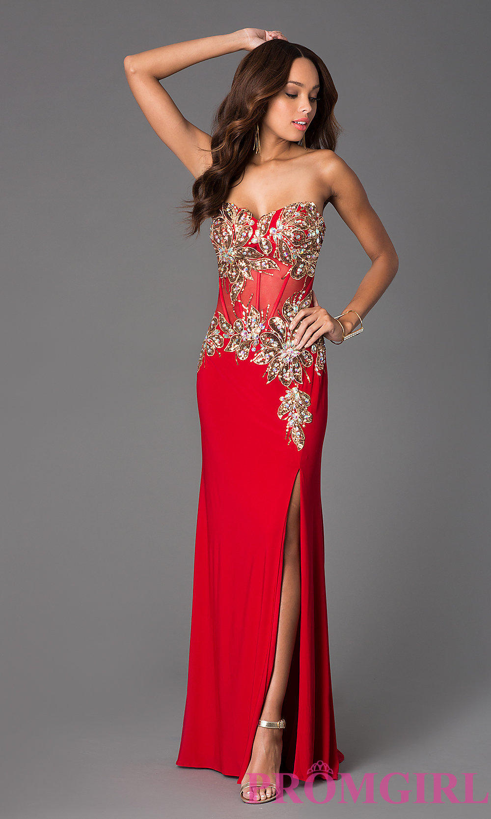 Strapless Corset Style Gown with Sequins