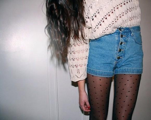 tights polka dots pants same shorts sweater