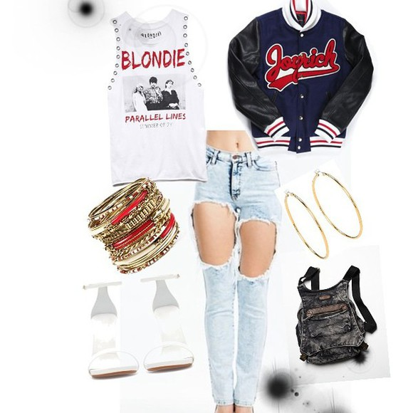 baseball jacket joyrich letterman jacket jeans
