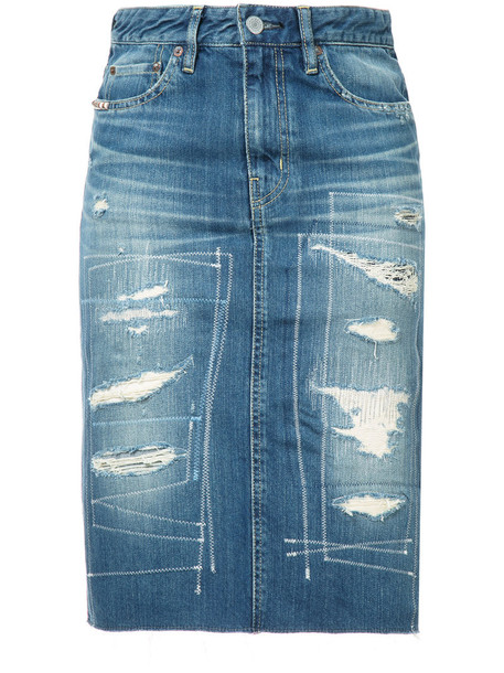 Hysteric Glamour - ripped denim skirt - women - Cotton - 25, Blue, Cotton