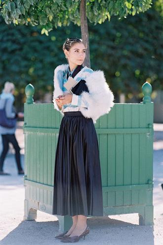 vanessa jackman blogger pleated skirt black skirt fluffy
