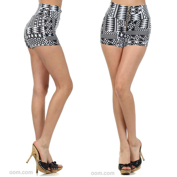 Popular Trends Vertical Aztec Tribal High Waisted Mini Shorts Zipper Pants s M L | eBay