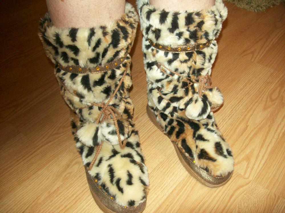 Victoria's Secret Colin Stuart Faux Leopard Fur Boots w Gold Sequins Size 11 | eBay