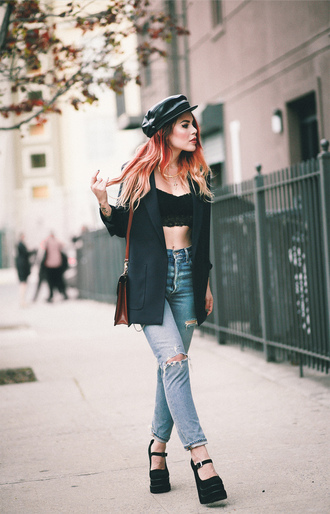 top tumblr black top black crop top crop tops black blazer blazer denim jeans blue jeans sandals wedges wedge sandals bag brown bag hat fisherman cap le happy shoes blogger jacket