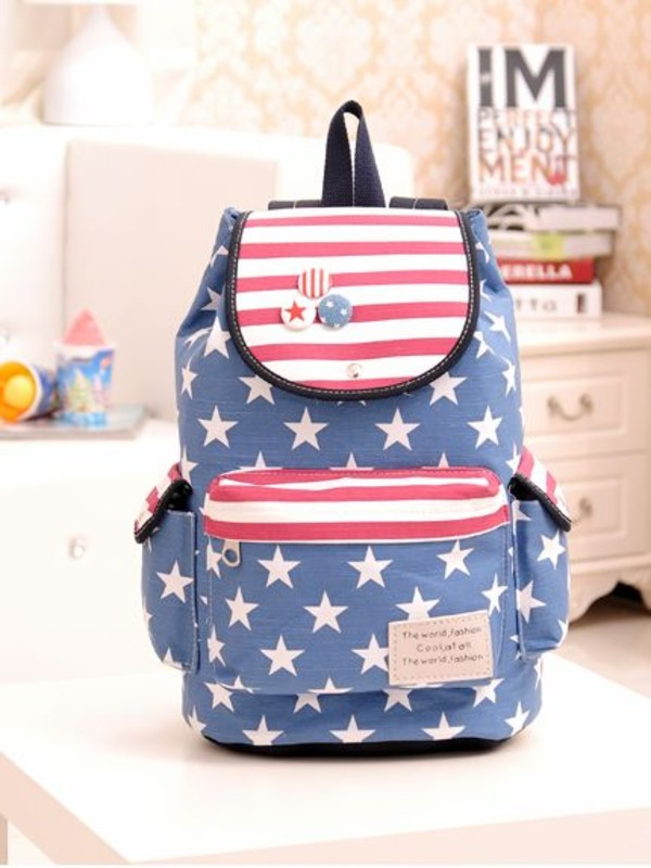 bag backpack vintage style stars stripes women girl back to school