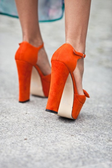 shoes orange shoes chunky heel