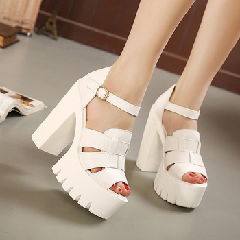 609265d873f Fashion 2015 new summer wedges platform sandals women Black and White open  toe high heels female shoes ...