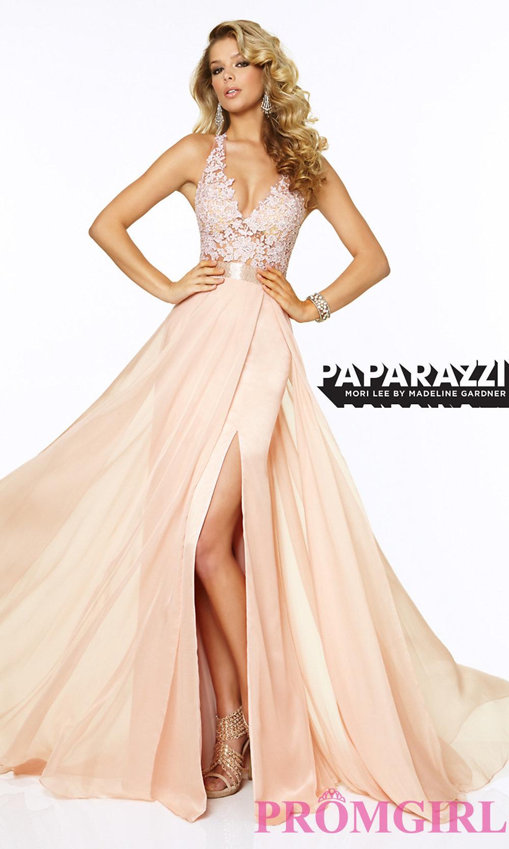 d22bf5b3f15 Long V-Neck Lace Prom Dress by Mori Lee ML-97018