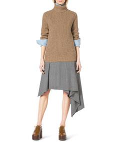 Michael Kors Fishermans Chunky-Rib Turtleneck, Classic Stretch-Cotton Button Shirt & Asymmetric Draped Stretch-Wool Skirt