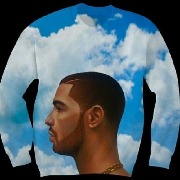 celebrity shirt sweater drake blue clouds sweatshirt nothing was the same trends