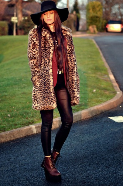 moon magik blogger floppy hat DrMartens leopard print faux fur coat hat top jacket shoes fur leopard print winter coat fedora black hat leather leggings black leggings leggings fur coat