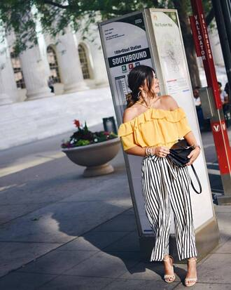 top tumblr yellow yellow top ruffle off the shoulder off the shoulder top pants stripes striped pants cropped pants sandals sandal heels high heel sandals black bag bag shoes