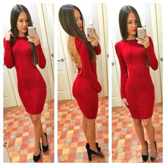 dress bodycon dress red dress backless dress chain dress sexy dress