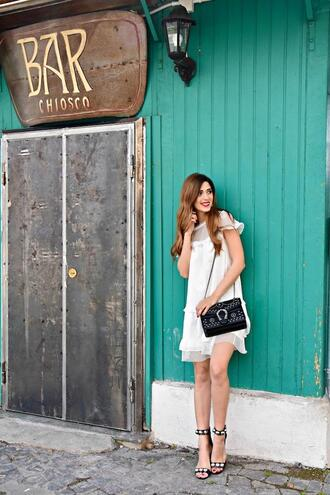 cosamimetto blogger dress shoes bag jewels white dress sandals spring outfits
