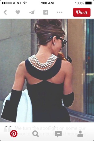 dress black dress pearl pearls back neckles cutout