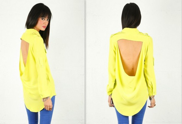 blouse shirt top open back