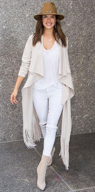 cardigan fringes alessandra ambrosio fall outfits boots jeans top hat