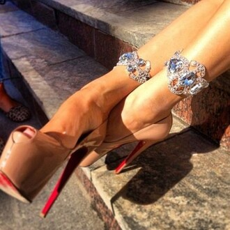beige shoes shoes high heels jewels christian louboutin diamonds anklet crystal quartz peep toe heels
