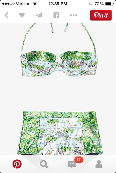 swimwear map cute top bottom