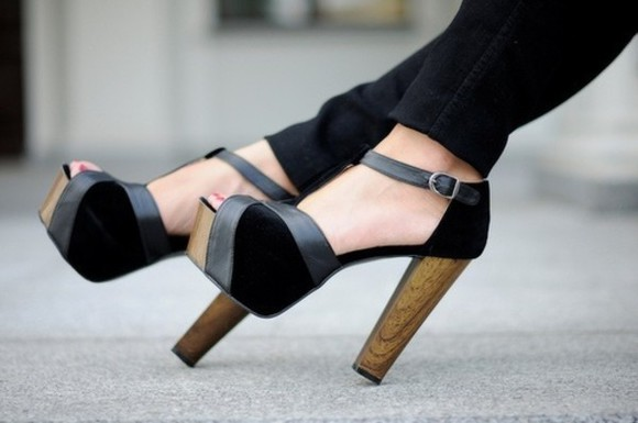 shoes black high heels wooden heel grey peep toe leather detail delicate jeffrey campbell